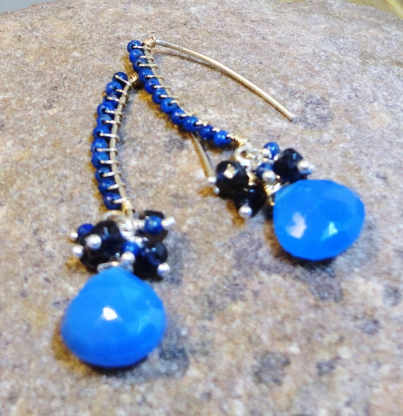 Lapis Lazuli, Cobalt Chalcedony, Iolite and Sterling  Earrings