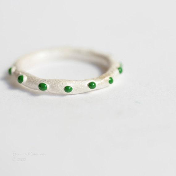 Green Clown Ring Sterling Little Bubbles T15