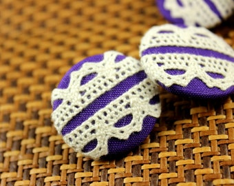 Lace Fabric Buttons - Double Floral Lace Blue Violet Fabric Buttons, 1.18 inch  (4 in a set)
