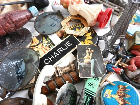 Antique & Vintage Finding Destash Lot - Glasses, Thimbles, Trinkets, Bottle Caps, Dice  - Retro Baubles