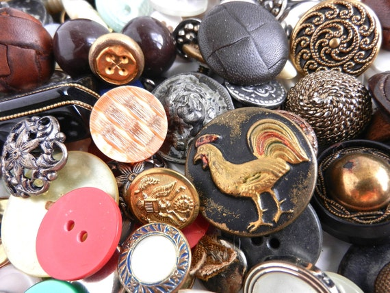 Vintage & Antique Button Lot - Leather, Metal, Small, Large Destash / Bunches of Buttons