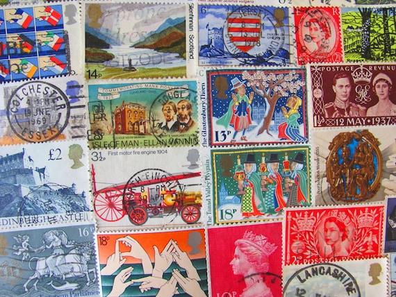 Bangers and Mash 50 Vintage Postage Stamps United Kingdom Great Britain England London Edinburgh Manchester Liverpool Worldwide Philately