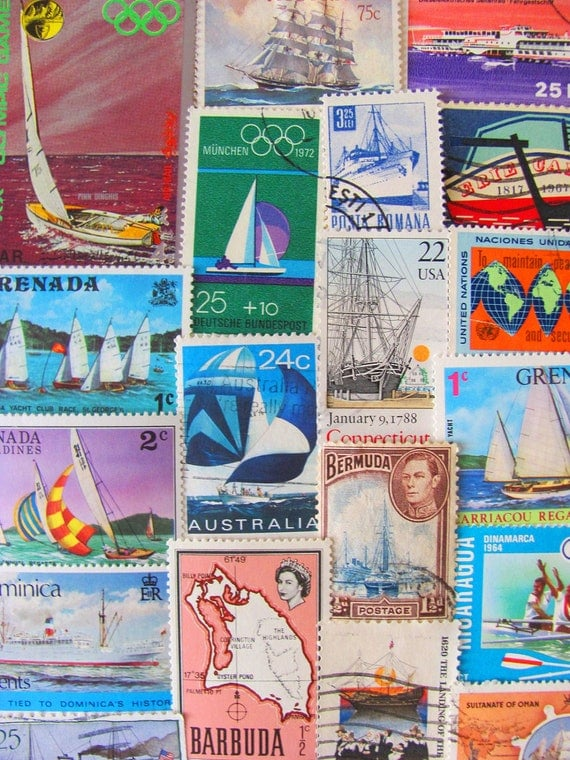 Lost At Sea 50 Vintage Postage Stamps Nautical Ships Boats Ocean Navy Marine Maritime Sailor US Worldwide Philately