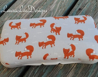 Foxes on Gray, Organic Cotton, Travel Wipe Case, Baby Shower Gift, Perosnalized Wipe Case, Baby Wipe Case, Diaper Wipe Case, Wipe Holder