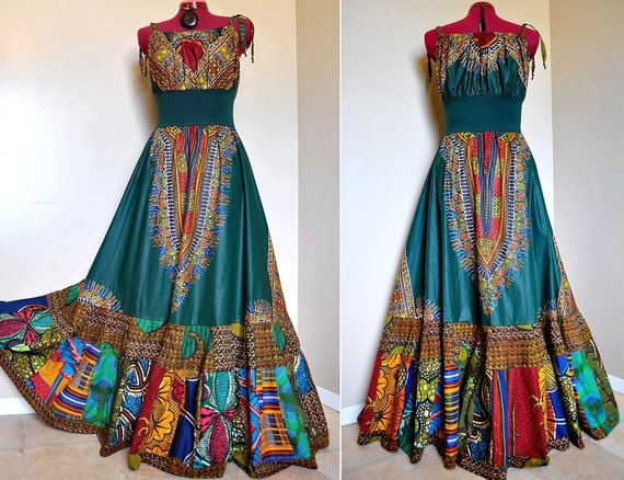 RESERVED for YW - Tribal Bazaar -  Long African Patchwork Bohemian Gown, Ooak Dashiki Maxi dress,  Can fit sizes - S to XL