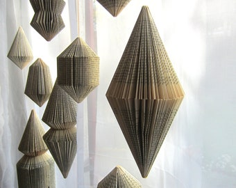 Hanging Book sculpture: Bicone -folded Books