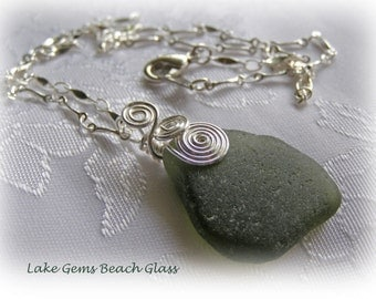 Dark Green Beach Glass Necklace