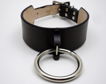 Wide Submissive Collar with Oversized O ring - Free US Shipping