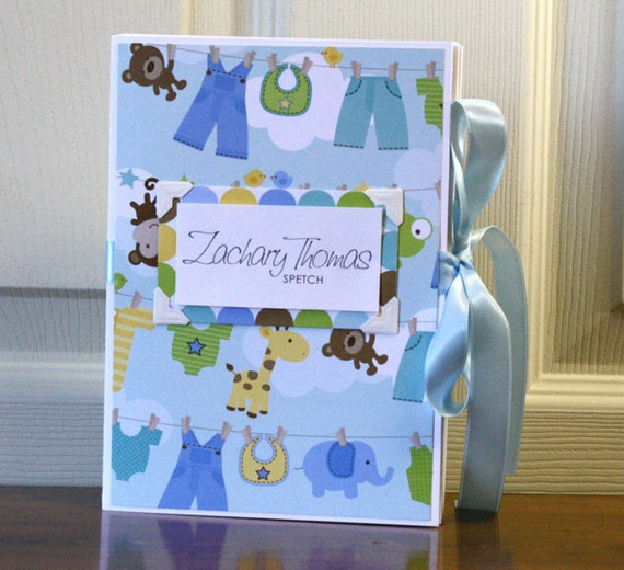 Modern Baby Book, Boy, Baby clothes on a line, blue, green and yellow, Deluxe