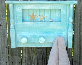 Beach-y Bathroom Shelf And Towel Hanger, Cottage Kitchen Spice Rack And Display, Coastal Living Decor, Coat Rack
