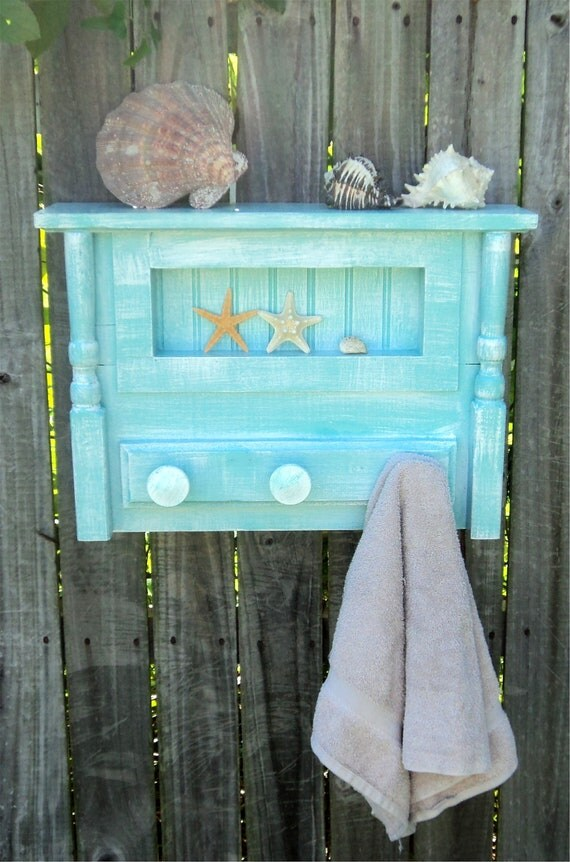 Beach Y Bathroom Shelf And Towel Hanger Cottage Kitchen Spice