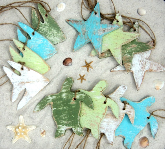 Beach Themed Ornaments Wooden Gift Tags Party Favors Beach