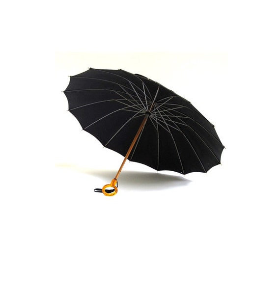 Vintage 1940s Black Umbrella with Golden Lucite Handle