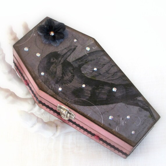 Coffin Box Halloween Raven Decoration Halloween Decor Spooky Box Gray Black Crow Mauve Pink Decorated Coffin Box Edgar Allen Poe