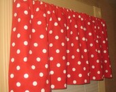 SALE  Window CURTAIN Valance Premier Prints Red Polka Dot