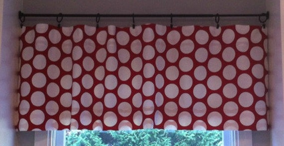 NEW Window CURTAIN Valance Premier Prints Lipstick Red Dot