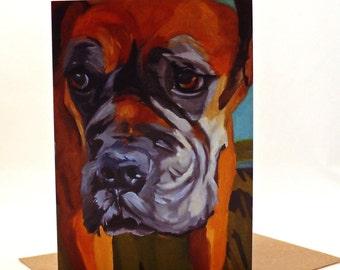 Pet Portrait Boxer Dog Greeting Card