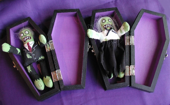 Zombie Halloween Handpainted  Boy & Girl Zombie Dolls In Coffins Made To Order