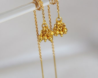 delicate gold threaders. tiny ball clusters. 14k, 18k, or 24k yellow gold plating • • teresa chain earring