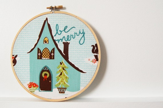 "Hand Embroidered Hoop Sign. ""Be Merry"", Winter Wonderland Scene. Christmas, Holiday Home Decor. Handmade by merriweathercouncil on Etsy"