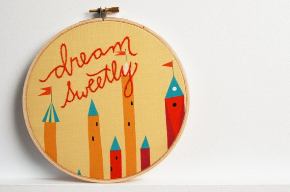 "Nursery Decor, Embroidery Hoop Art. ""Dream Sweetly"" Stitched in Red on Fairy Tale Fabric, 6 inch Hoop. by merriweathercouncil on Etsy"