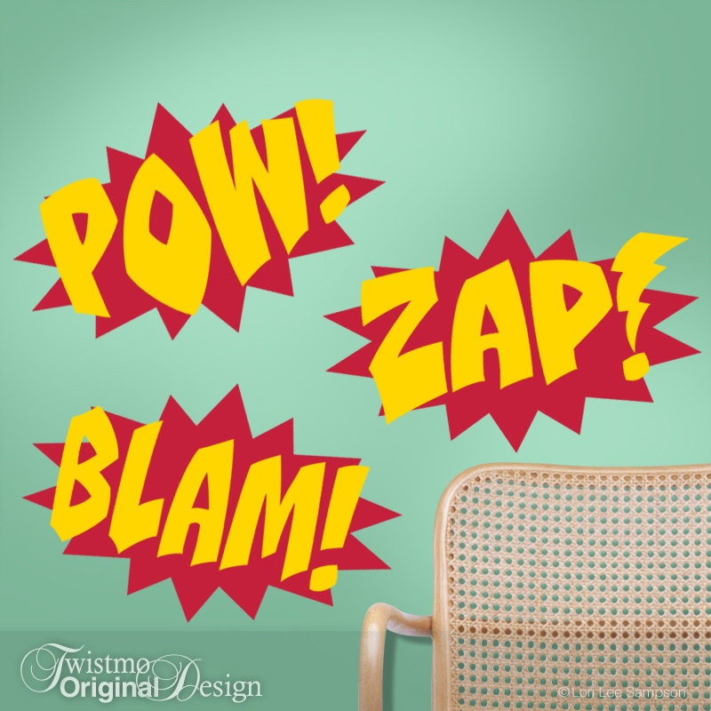superhero wall decals comic book sound effects word bursts