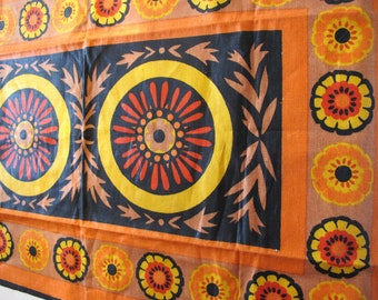 SALE Orange and Yellow Linen Wall Hanging