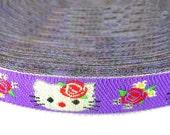Glitter Kitty Embroidery Ribbon Scrapbooking Trim Apparel 4 Yards
