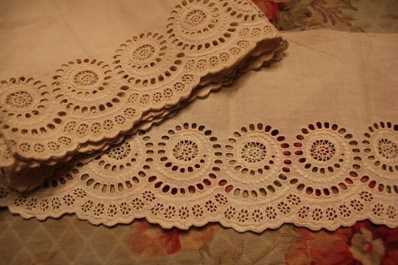 Antique White Work Petticoat Eyelet Lace Trim