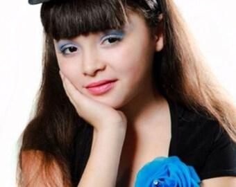 Blue Rose mini top hat