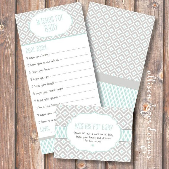Ikat Robins Egg Blue Printable Wishes for Baby Game - INSTANT DOWLOAD