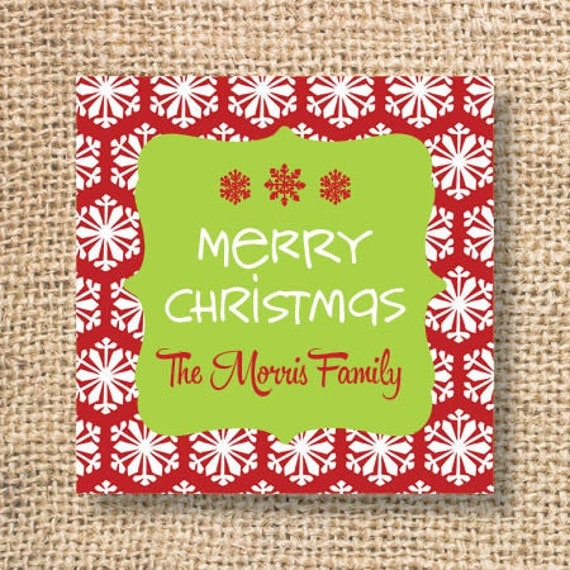 Personalized Christmas Gift Tags: Items Similar To Red Snowflake Printable Personalized