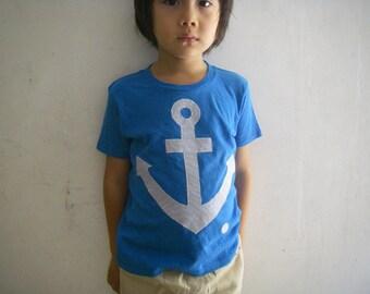 Boy and Girl Anchor Applique Organic Cotton T-Shirt(blue)
