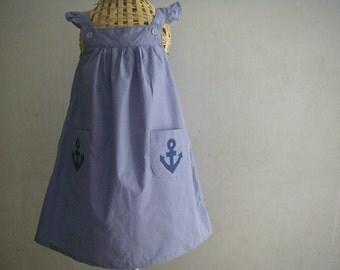 Handmade Blue Dress with Anchor Applique