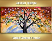 Whimsical Tree art, impasto texture acrylic painting by Tim Lam 48x24
