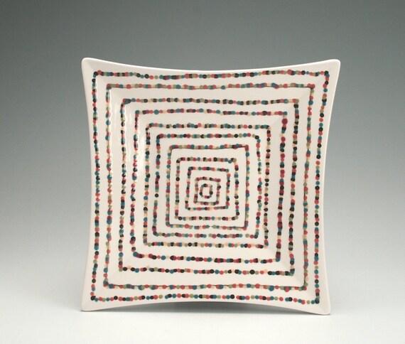 Super Square Spiral Plate Jewel Colored Op Art
