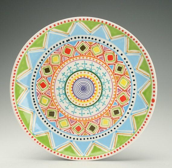 Multi Color Platter Hand Painted Bohemian Mandala Art Serving / Personal Dinnerware