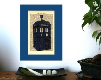 Dr Who Blue Police Box Vintage Art Print on Antique 1896 Dictionary Book Page