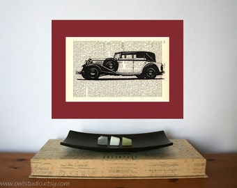 White Oldtimer Art Print on Antique 1896 Dictionary Book Page