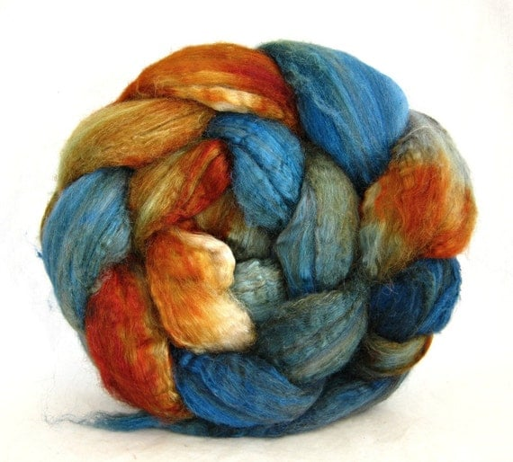 hand painted roving, fiber camel, cultivated silk combed top, spinning fibers, felting fibers