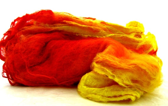 spinning, felting, knitting, Handpainted silk hankies, batt supplies
