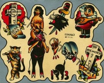 Devils n Cats n Graves Tattoo Flash