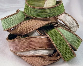 Hand Dyed Silk Ribbon - Crinkle Hand Painted Silk Jewelry Bracelet  - Quintessence - Olive Grove