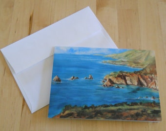 Big Sur Coast, Watercolor, Greeting Cards, 5x7, California, Cove