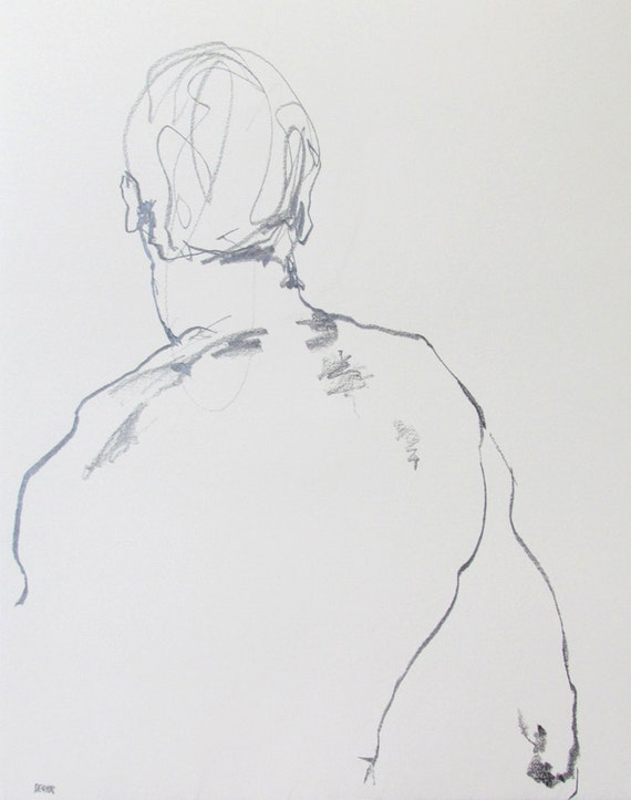 """Male Figure Drawing  - 11 x 14"""",  fine art - Drawing 90 - graphite on paper - original drawing"""