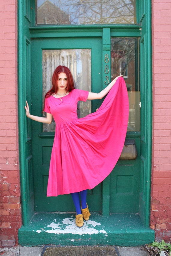 RESERVED Dress Anne Fogarty 1950s Vintage 50s Rockabilly Full Circle Skirt Bright Pink S Small