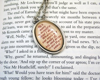 Wuthering Heights Necklace Quote Emily Bronte Silver - SOULS - Red Cream Literary Book Gift Etsy uk