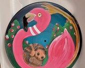 "Flamingo Alice in Wonderland Croquet Painting on 12"" Recycled Record by Amanda Christine Shelton"
