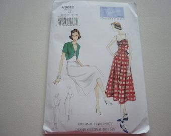 Pattern Ladies Vintage 1940 Style Dress Belt and Bolero Sz 6-14  Vogue 8812