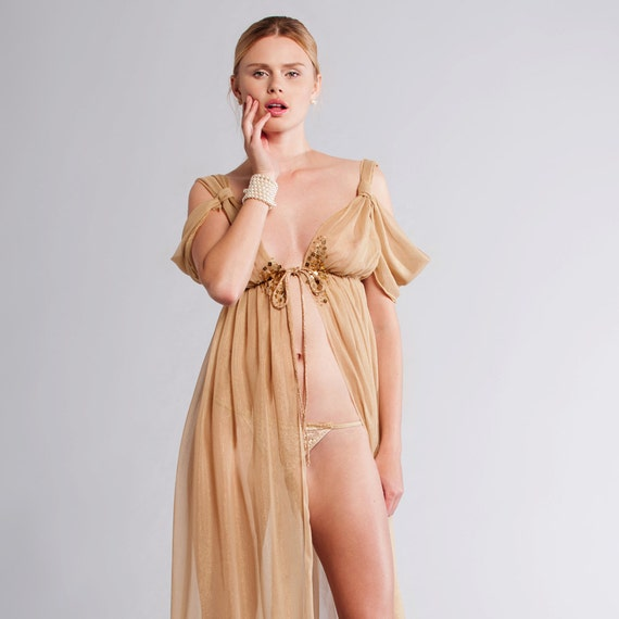 GOLDIE Silk Chiffon Grecian Long Gown - Bridal gold night gown - wedding lingerie
